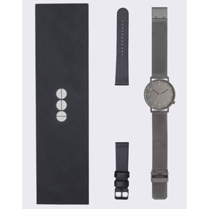 Komono Lewis Black Gift Set Gun Mesh + Black Leather Strap
