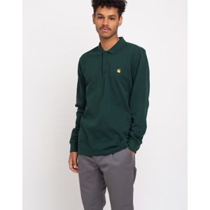 Carhartt WIP L/S Chase Pique Polo Bottle Green/Gold L