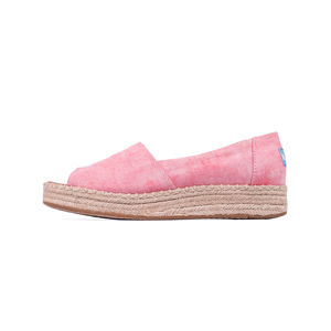 Toms Open Toe Platform Alpargata Coral Washed Twill 37