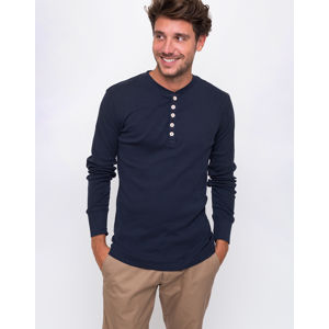 Knowledge Cotton Rib Henley 1001 Total Eclipse M