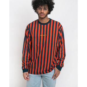 Carhartt WIP Barnett T-Shirt Barnett Stripe, Brick Orange / Duck blue / Colza L